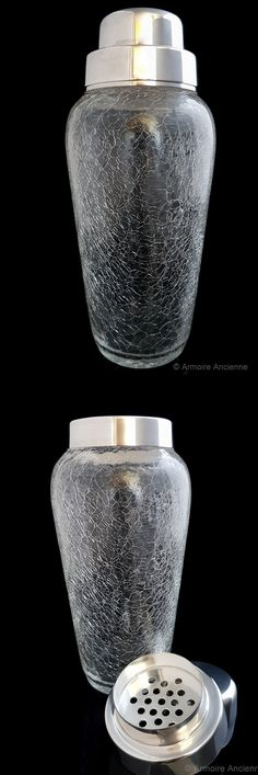 BUY on ETSY: Vintage Cocktail Shaker, Martini Mixer, Cracked Crystal Glass