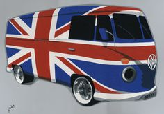 "090SB026 - VW Campervan, Britbus - 16"" x 12"" Print Only £12.99 9.5"" x 6.5"" Mounted to 14"" x 11"" - £12.99"