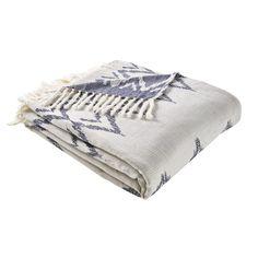 Futa de algodón blanco con motivos gráficos azules 100x200 | Maisons du Monde