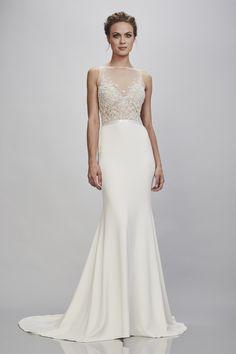 d8398c0ea580 Amalia – THEIA Bridal - sexy sheer illusion wedding dress - Sleeveless  bateau neckline, illusion tulle , floral beaded bodice with stretch crepe  mermaid ...