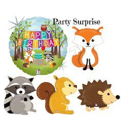 Woodland Animal Birthday Balloons Fox Squirrel by PartySurprise