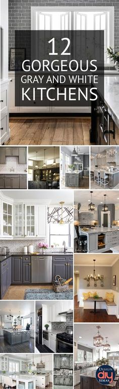 Gray and White kitchen decor ideas are all the rage because they are beautiful! Click to see details to gorgeous kitchens.