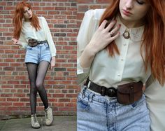 Scout Belt, Embroidered Collar Blouse, Acid Wash Shorts, Chevron Print Tights, Suede Docs, Cameo, Old French Ring