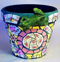 Frog Flower Pot (sold) - by Laura Winzeler from mosaics Art Gallery