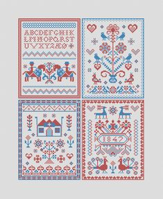 Postcards from Zealand, Part 1 - Traditional danish folk embroidery sampler pdf pattern for cross stitch Embroidery Alphabet, Embroidery Sampler, Folk Embroidery, Embroidery Stitches, Stitch Shop, Modern Cross Stitch, Beautiful Patterns, Denmark, Postcards