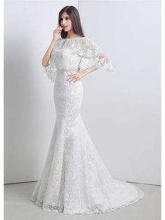 Sophisticated Mermaid Floor Length Sweetheart Lace Chiffon Wedding Dress