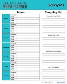 Clean Eating Menu Planner. Plan out your week plus grocery list! #menuplanner #weightloss