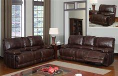 Brown Bonded Leather Living Room Set