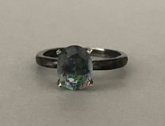 Oval mystic Rainbow Topaz Engagement Ring Sterling Silver Oval