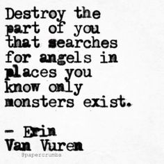 Destroy the part of you that searches for angels in places you know only monsters exist.  ~ Erin Van Vuren