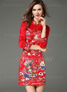 Dresses - $101.72 - Polyester Floral 3/4 Sleeves Above Knee Vintage Dresses…