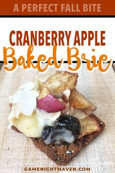 Cranberry Apple Baked Brie is a delicious appetizer for any party. Super easy to make, the tart cranberries and apples balance the brie for a perfect bite. Thanksgiving Celebration, Thanksgiving Parties, Baked Brie, Baked Apples, Desserts To Make, Food To Make, Game Night Food, Small Baking Dish, Dried Cherries