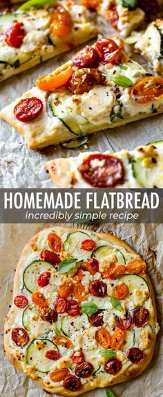 Homemade flatbread with delicious summer flavors from fresh tomatoes and basil t… Homemade flatbread with delicious summer flavors from fresh tomatoes and basil to herbed ricotta, zucchini, and more! Easy recipe on sallysbakingaddic… Vegetarian Recipes, Cooking Recipes, Healthy Recipes, Healthy Flatbread Recipes, Healthy Foods, Ricotta, Healthy Homemade Pizza, Cinnamon Health Benefits, Sauce Tomate