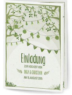 """""""Gartentraum"""" Hochzeitskartendesign.com - Save the Date oder Einladung zur Hochzeit im Garten unter den Bäumen und Girlanden"""
