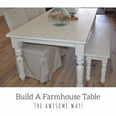 to one of my favorite table builds. All white distressed farmhouse table with Portsmouth legs from Did you know I made a tutorial on how I make my tables? If your curious on my process or wanna a build a table for yourself check out the Build A Farmhouse Table, Build A Table, Diy Furniture Plans, Recycled Furniture, Kitchen Dining, Dining Room, Portsmouth, Building Plans, Entryway Tables