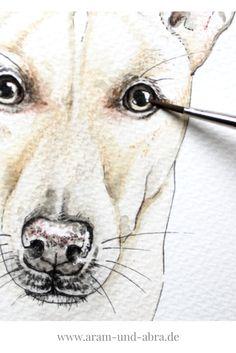 #Hund malen lassen in Aquarell | Portrait | Zeichnen | Ideen | DIY | Tipps | Anleitung | kreativ | Kunst | Tierportrait | Hunde | Podenco | Tierschutz | Aram und Abra | www.aram-und-abra.de