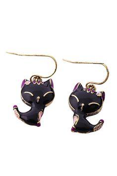 Black Cat-Shaped Vintage Earrings
