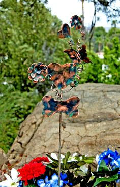Dog Bone Garden Stake With Hearts and Flowers / Metal Garden Art / Yard Art / Copper Art / Pet Memorial / Dog Bone Sculpture / Pet Sign