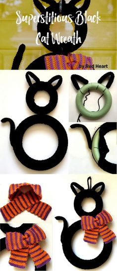 Crochet a charming black cat to greet your visitors during the Halloween season. Cover round wreaths with crocheted pieces, add ears and tail and a haunting striped bow.