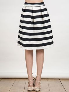 Schwarzer und Weißer Streifen Hohe Taille A-Linie Rock