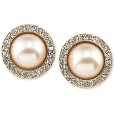 Carolee Gold-Tone Pave and Imitation Pink Pearl Button Earrings ($40) ❤ liked on Polyvore featuring jewelry, earrings, gold, button earrings, holiday jewelry, holiday earrings, earrings jewelry and fake earrings