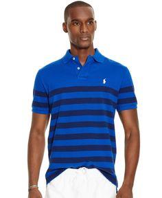 Polo Ralph Lauren Men\u0026#39;s Classic-Fit Striped Mesh Polo Shirt