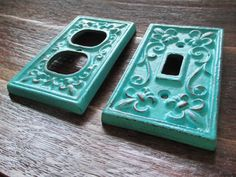 Turquoise Single Light Switch Plate Cover and Outlet Cover  / Cast Iron / Shabby Chic Decor / Fleur de Lis / Rustic Decor