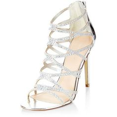 Silver Diamante Cross Strap High Heels (67 AUD) ❤ liked on Polyvore featuring shoes, pumps, silver, silver shoes, silver high heel shoes, open-toe pumps, silver pumps and open toe high heel shoes #hocoshoeshighheels