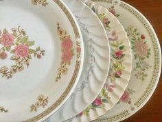 4 Mismatched China Dinner plates Wedding Bridal Shower Tea