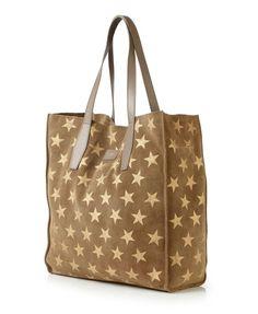 Veloursleder-Shopper 'Amelia Park' mit Sternenprint Cognac/Gold