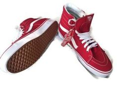 d00a7f429dbdce Vans Sk8-Hi Mens 8 Womens 9.5 Shoes Sneakers Red High Tops Skate New With