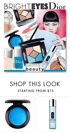 """Bright Blue Eyes Dior Milky Dots Summer 2016 Makeup Collection"" by voguefashion101 ❤ liked on Polyvore featuring beauty, MAC Cosmetics, Clinique, Beauty, Dior, brighteyes, likesforlikes and summer2016"