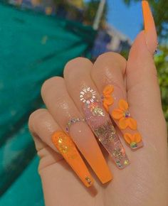 welcome to the culture : internet ctrl 🦋 Orange Acrylic Nails, Long Square Acrylic Nails, Acrylic Nails Coffin Short, Fall Acrylic Nails, Orange Nails, Coffin Nails, Dope Nails, Bling Nails, Swag Nails