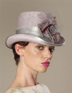 Louise Green Ravishing Riding Hat Unforgettable and just jaunty. A lavender  sisal with silver grey silk band and organza rose. Arrives in a keepsake  hatbox. bb3f17c57b8f
