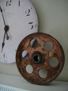 Large Industrial Wheel Cast Iron Rusty Wheel by RustyNailDesign
