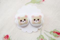 Cross stitched bear earrings