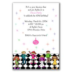 Dance Party Invitations for Kids Birthday Party