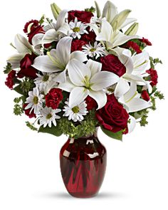 Be My Love Bouquet with Red Roses Flowers - Add some romance to the holiday season with this rich arrangement of luxurious flowers in classic winter colors. Red roses, snow white lilies and play. Romantic Flowers, Love Flowers, Beautiful Flowers, Send Flowers, Flowers Today, Order Flowers, Fresh Flowers, White Flowers, Red Rose Bouquet