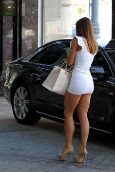 Great legs under sexy little dress