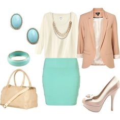 mint and neutral outfits. I'd put a nice maxi skirt with it instead of this one, change the shoes to flats and I'd take away the earrings.
