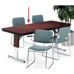"""Barricks Rectangular Adjustable Height Folding Conference Table 72"""" x 36"""" by Barricks. $419.00. Midwest Folding Products 72''x36'' adjustable height folding conference table is constructed of plywood core with a highpressure laminate finish. Legs are heavyduty 14gauge steel with a chrome plated finish.Folding conference table features gravity leg locks for stability. Tmold edge banding keeps table top from chipping. Decorative leg panels match table top finish. Plastic leg ..."""