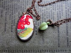Red Cherry Vintage Fabric Necklace  $38.00