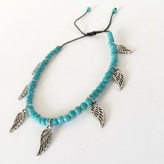 Βραχιόλι ποδιού με τυρκουαζ χαουλίτη φτερά | Βραχιόλια στο jamjar Summer Accessories, Turquoise Bracelet, Beaded Necklace, Bracelets, Jewelry, Fashion, Beaded Collar, Moda, Jewlery