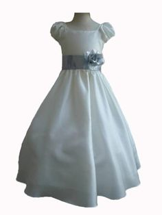 Classykidzshop Ivory Taffetta Wedding Flower Girl Dress with Colorful Sash - Silver Sash 2T Classykidzshop,http://www.amazon.com/dp/B008A1HBBW/ref=cm_sw_r_pi_dp_AM82qb0F7M5Z9A66