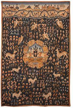 Warm it up, w/ a wall hung antique Tapestry...; HALLUIN, TAPISSERIE 'BLASON ARMOIRIE SUR FOND MILLEFLEURS' du Moyen-age