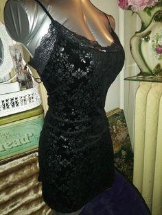 b3d09163b25 INC Macys Size Large Black Velvet Burnout Chemise Nightgown Lingerie   fashion  clothing  shoes