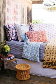 LaLa Bedding by Kerry Cassill. It's the softest most luxurious block printed fabric. I love the look of mismatched unassuming fabrics in any room