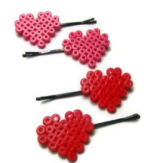Heart hair pins perler beads by mizziexoxo