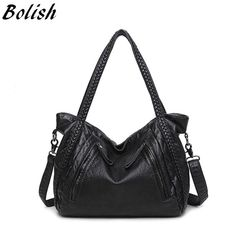 Bolish High Quality Soft PU Leather Top-Handle Bag Fashion Women Messenger Bag Larger Shoulder Bag Waterproof  Women Bag - leathernbags