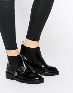 Image 1 of ASOS ARKANSAS Leather Western Buckle Boots